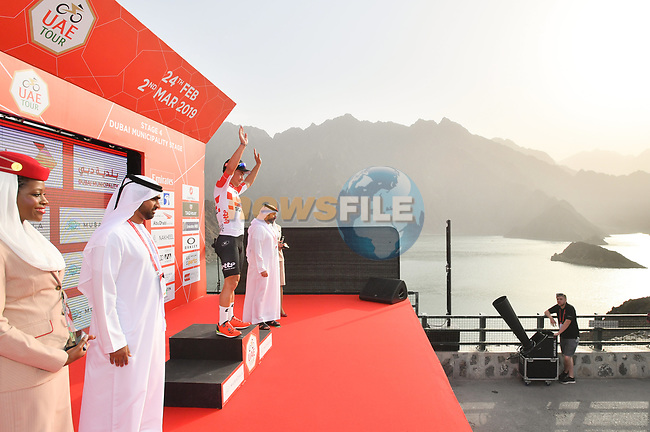 Caleb Ewan (AUS) Lotto-Soudal wins Stage 4 of the 2019 UAE Tour, running 197km form The Pointe Palm Jumeirah to Hatta Dam, Dubai, United Arab Emirates. 26th February 2019.<br /> Picture: LaPresse/Massimo Paolone | Cyclefile<br /> <br /> <br /> All photos usage must carry mandatory copyright credit (© Cyclefile | LaPresse/Massimo Paolone)