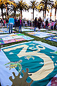 350 quilt with sea turtles in front of other quilts. Hundreds of people gathered in downtown San Francisco for 350.org's International Day of Climate Action, October 24, 2009. Greenpeace, Mobilization for Climate Justice, and many others helped put on the local event. California, USA