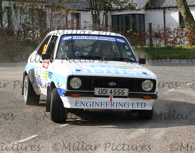 Philip Wylie - John Young in a Ford Escort at Junction 13 on Special Stage 11 Bulls Brook on the Discover Northern Ireland Circuit of Ireland Rally which was a constituent round of  the FIA European Rally Championship, the FIA Junior European Rally Championship, the Clonakilty Irish Tarmac Rally Championship, and the MSA ANICC Northern Ireland Stage Rally Championships which took place on 18.4.14 and 19.4.14 and was based in Belfast.
