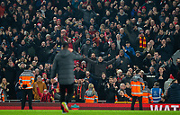 Liverpool manager Jurgen Klopp celebrates with fans after the game<br /> <br /> Photographer Alex Dodd/CameraSport<br /> <br /> The Premier League - Liverpool v Manchester United - Sunday 19th January 2020 - Anfield - Liverpool<br /> <br /> World Copyright © 2020 CameraSport. All rights reserved. 43 Linden Ave. Countesthorpe. Leicester. England. LE8 5PG - Tel: +44 (0) 116 277 4147 - admin@camerasport.com - www.camerasport.com