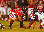 Inglewood, CA 10/09/14 - Jose Mejia (Morningside #62) in action during the Palos Verdes Peninsula vs Morningside CIF Varsity football game at Coleman Field in Inglewood.  Peninsula defeated Morningside 24-13.