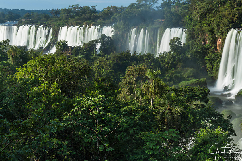 Iguazu Falls National Park in Argentina.  A UNESCO World Heritage Site.  Pictured from left to right are the Mbigua, Bernabe Mendez, and Adam and Eve Falls.