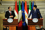 Italian Premier Matteo Renzi, right, and Egyptian President Abdel Fattah el-Sissi, during a press conference at Villa Madama in Rome, Monday, Nov. 24, 2014. El-Sissi was meeting with Italian Premier Matteo Renzi and then Tuesday with Italian and Egyptian entrepreneurs before heading to Paris. His visit was expected to focus on investment, fighting terrorism and the flow of migrants from conflicts in the Middle East and Africa toward Europe. Egyptian Presidency