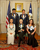 The five recipients of the 40th Annual Kennedy Center Honors pose for a group photo following a dinner hosted by United States Secretary of State Rex Tillerson in their honor at the US Department of State in Washington, D.C. on Saturday, December 2, 2017.  From left to right back row: LL Cool J and Lionel Richie  Front row, left to right: Carmen de Lavallade, Norman Lear and Gloria Estefan.  The 2017 honorees are: American dancer and choreographer Carmen de Lavallade; Cuban American singer-songwriter and actress Gloria Estefan; American hip hop artist and entertainment icon LL COOL J; American television writer and producer Norman Lear; and American musician and record producer Lionel Richie.  <br /> Credit: Ron Sachs / Pool via CNP