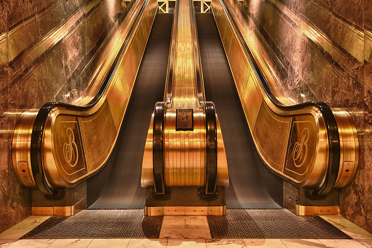 The lobby escalators at Colorado Spring's 5-star Broadmoor Hotel