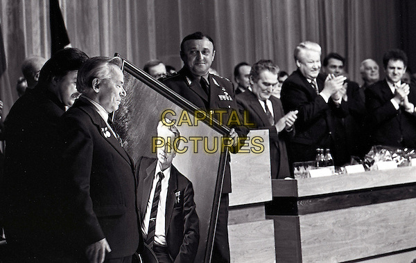Mikhail T. Kalashnikov, Boris Yeltsin, Pavel Grachev<br /> Anniversary of Mikhail Kalashnikov 75 years. Awarding of the new Russian order &quot;For merits before Fatherland&quot;<br /> CAP/PER/SP<br /> &copy;SP/PersonaStars/CapitalPictures