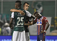PALMIRA - COLOMBIA, 19-02-2019: Andres Colorado y Juan Ignacio Dinenno del Cali celebran después del partido por la fecha 5 de la Liga Águila I 2019 entre Deportivo Cali y Union Magdalena jugado en el estadio Deportivo Cali de la ciudad de Palmira. / Andres Colorado and Juan Ignacio Dinenno of Cali celebrate after match for the date 5 as part Aguila League I 2019 between Deportivo Cali and Union Magdalena played at Deportivo Cali stadium in Palmira city.  Photo: VizzorImage / Gabriel Aponte / Staff