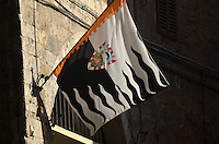 Michael McCollum.3/15/13.A neighborhood flag in the city of Siena, Italy..The neighborhoods/district/contrade are an important identity to the people of Siena,.