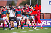 Picture by Allan McKenzie/SWpix.com - 09/09/2017 - Rugby League - Betfred Super League - Hull KR v Widnes Vikings - KC Lightstream Stadium, Hull, England - Hull KR's Thomas Minns is congratulated on scoring a try against Widnes.
