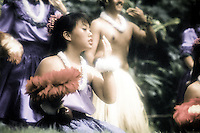 Group hula performance with uli uli (gourd rattles) at Prince Lot hula festival, Oahu