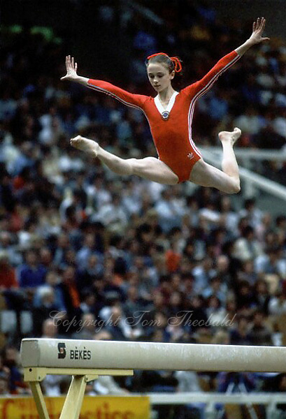 October 23, 1983; Budapest, Hungary; Artistic gymnast Natalia Ilienko of Soviet Union split leaps on balance beam at 1983 World Championships in Budapest..(©) Copyright 1983 Tom Theobald