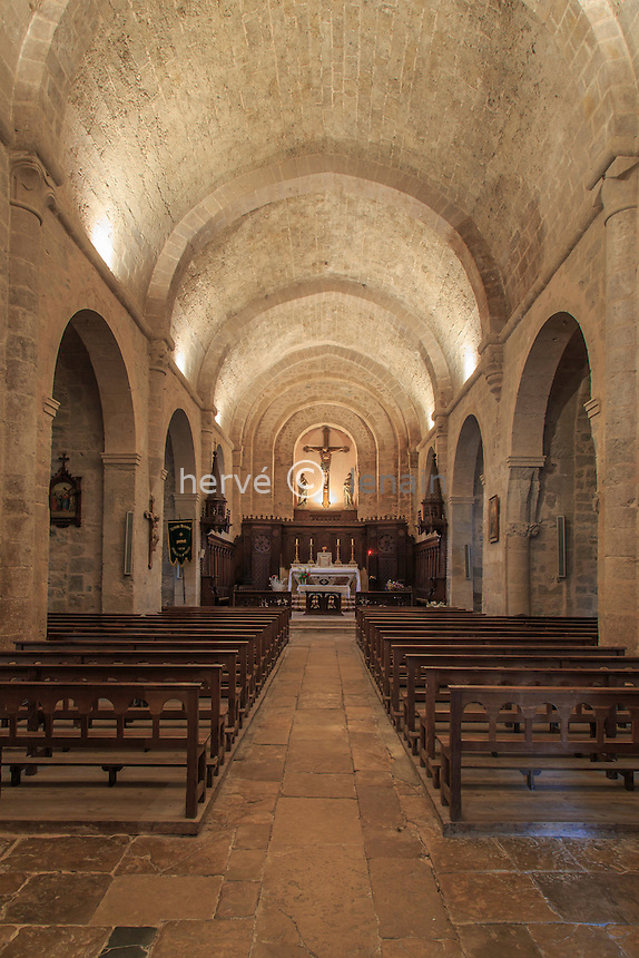 France, Aveyron (12),Parc Naturel Régional des Grands Causses. Sainte-Eulalie-de-Cernon, commanderie médiévale, l'église // France, Aveyron,Parc Naturel Regional des Grands Causses. Sainte Eulalie de Cernon, the church