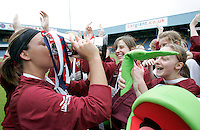 09 MAY 2007 - LONDON, UK - Saskia Philip drinks champagne from the trophy after the Loughborough University victory over Brighton University - BUSA Womens Football Championships. (PHOTO (C) NIGEL FARROW)