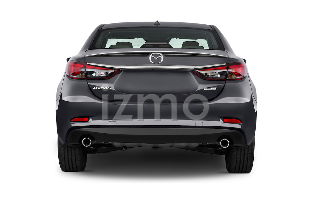 Straight rear view of a 2016 Mazda 6 i Grand Touring Auto 4 Door Sedan stock images
