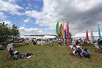 Monday 26 May 2014, Hay on Wye, UK<br /> Pictured: Festival-goers on the green.<br /> Re: The Hay Festival, Hay on Wye, Powys, Wales UK.