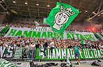 Stockholm 2015-08-24 Fotboll Allsvenskan Djurg&aring;rdens IF - Hammarby IF :  <br /> Hammarbys supportrar med flaggor och banderoller under matchen mellan Djurg&aring;rdens IF och Hammarby IF <br /> (Foto: Kenta J&ouml;nsson) Nyckelord:  Fotboll Allsvenskan Djurg&aring;rden DIF Tele2 Arena Hammarby HIF Bajen supporter fans publik supporters