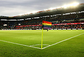 June 6th 2017, Brondby Stadium, in Brondby, Copenhagen, Denmark;  A rainbow flag as corner flag as a symbol against homophobia pictured during the international  match between Denmark and Germany at the Brondby Stadium