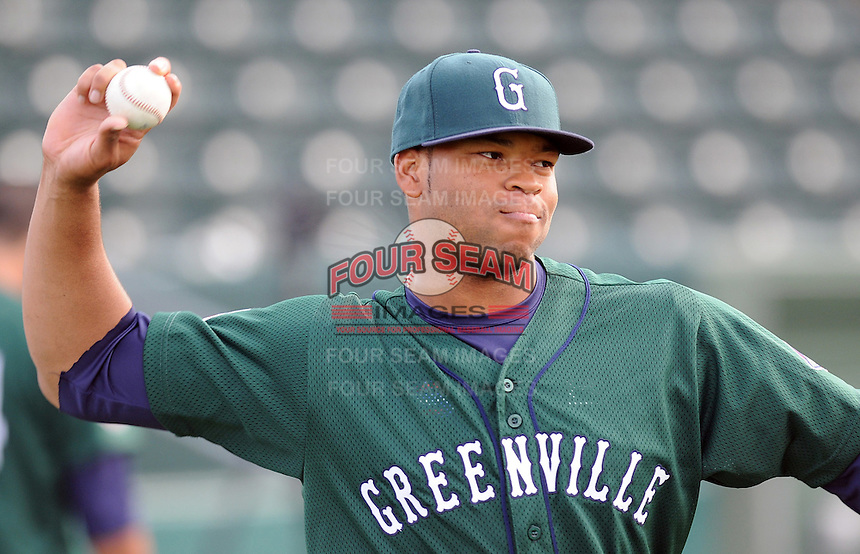 April 2, 2008: Infielder Mike Jones (20) of the Greenville Drive, Class A affiliate of the Boston Red Sox, during Media Day at Fluor Field at the West End in Greenville, S.C. Photo by:  Tom Priddy/Four Seam Images