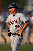 Connecticut Tigers manager Howie Bushong (28) during a game vs. the Batavia Muckdogs at Dwyer Stadium in Batavia, New York July 8, 2010.   Connecticut defeated Batavia 4-2 in extra innings.  Photo By Mike Janes/Four Seam Images