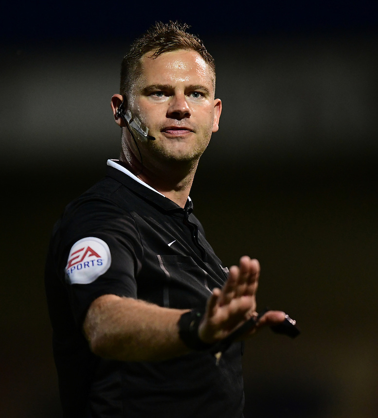 Referee Robert Whitton<br /> <br /> Photographer Chris Vaughan/CameraSport<br /> <br /> Football - Vanarama National League - Lincoln City v North Ferriby United - Tuesday 9th August 2016 - Sincil Bank - Lincoln<br /> <br /> &copy; CameraSport - 43 Linden Ave. Countesthorpe. Leicester. England. LE8 5PG - Tel: +44 (0) 116 277 4147 - admin@camerasport.com - www.camerasport.com