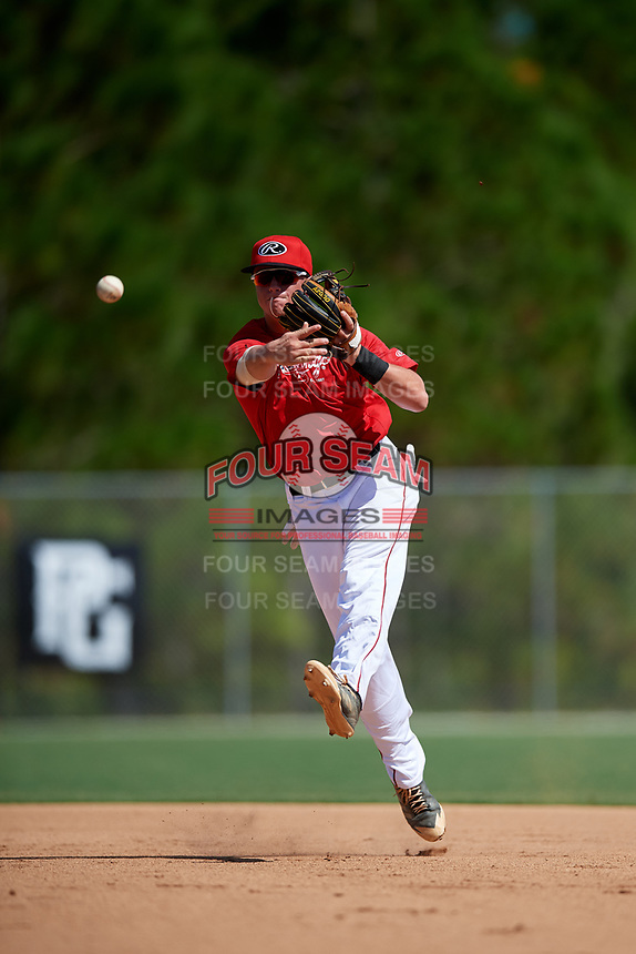 Nolan Wosman during the WWBA World Championship at the Roger Dean Complex on October 18, 2018 in Jupiter, Florida.  Nolan Wosman is a shortstop from Palmyra, Missiouri who attends Paymyra High School and is committed to Arkansas.  (Mike Janes/Four Seam Images)
