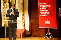 SAO PAULO, SP, 14.03.2016 - HADDAD - SP- O prefeito de São Paulo, Fernando Haddad, juntamente com a 1ª dama Maria Estela Haddad e da vice-prefeita Nádia Campeão, participam da homenagem na Posse das Representantes dos Fóruns Regionais de Políticas para as Mulheres, no Teatro Municipal, no centro da cidade, nessa segunda-feira 14. ( Foto: Gabriel Soares/ Brazil Photo Press)