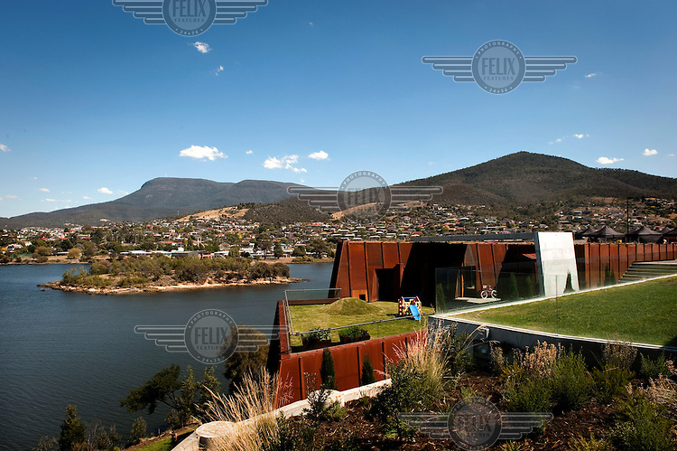 The exterior of the Museum of Old and New Art (MONA) in Hobart, Tasmania. It houses a collection that ranges from ancient Egyptian mummies to some of the worlds most infamous and thought-provoking contemporary art.