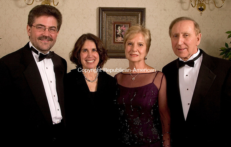 SOUTHINGTON, CT- 05 FEBRUARY 2005-020505JS13--Steve and Elaine Strongwater, left with 2005 Gala co-chairs Ada Anthony and her husband Dr. Robert Anthony of Cheshire at the  Saint Mary's Hospital Foundation's 14th annual gala Saturday at the Aqua Turf in Southington. The theme for this year's event was 'Young at Heart' with procedes to benefit Saint Mary's advanced cardiac care program.  -- Jim Shannon Photo--Aqua Turf; Saint Mary's Hospital; Dr. Robert Anthony, Ada Anthony, Steve Strongwater, Elaine Strongwater are CQ
