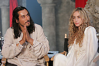2004 file photo - Montreal, Quebec, CANADA - Press Conference with Emmanuelle Beart  (R) and Vincent Hebaz (D'Artagnan) (L) on the set of THE FOUR MUSKETEER