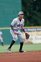 Winston-Salem Dash shortstop Laz Rivera (16) in the field during a game against the Myrtle Beach Pelicans at Ticketreturn.com Field at Pelicans Ballpark on July 22, 2018 in Myrtle Beach, South Carolina. Winston-Salem defeated Myrtle Beach 7-2. (Robert Gurganus/Four Seam Images)