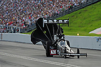 Jun. 19, 2011; Bristol, TN, USA: NHRA top fuel dragster driver Larry Dixon during eliminations at the Thunder Valley Nationals at Bristol Dragway. Mandatory Credit: Mark J. Rebilas-