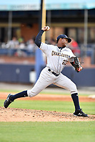 Charleston RiverDogs pitcher Adonis DeLaCruz (23) delivers a pitch during game one of a double header against the Asheville Tourists at McCormick Field on April 9, 2019 in Asheville, North Carolina. The Tourists defeated the RiverDogs 17-3. (Tony Farlow/Four Seam Images)