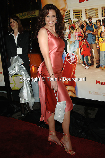 Andie McDowell arriving at the Beauty Shop Premiere at the National Theatre in Los angeles. March 24, 2004.