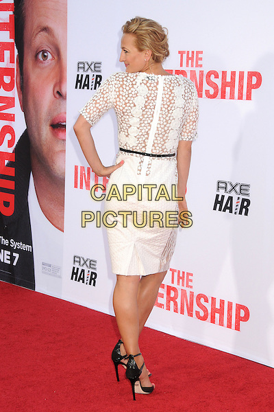 Zoe Bell<br /> &quot;The Internship&quot; Los Angeles Premiere held at the Regency Village Theatre, Westwood, California, USA.<br /> May 29th, 2013<br /> full length white lace dress black belt looking over shoulder back behind rear hand on hip <br /> CAP/ADM/BP<br /> &copy;Byron Purvis/AdMedia/Capital Pictures