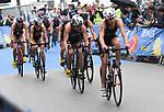 06.07.2019,  Innenstadt, Hamburg, GER, Hamburg Wasser World Triathlon, Elite Frauen, im Bild Caroline Pohle (GER) auf dem Fahrrad auf dem Rathausmarkt Foto © nordphoto / Witke *** Local Caption ***
