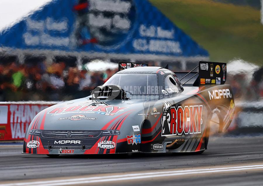 Jun 19, 2015; Bristol, TN, USA; NHRA funny car driver Matt Hagan during qualifying for the Thunder Valley Nationals at Bristol Dragway. Mandatory Credit: Mark J. Rebilas-