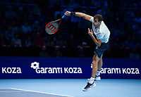 Gregor Dimitrov of Bulgaria (6) in action during his victory over Dominic Thiem of Austria (4) in the Group Pete Sampras Match today - Dimitrov def Thiem 6-3, 5-7, 7-5<br /> <br /> Photographer Ashley Western/CameraSport<br /> <br /> International Tennis - Nitto ATP World Tour Finals - O2 Arena - London - Day 2  - Monday 13th November 2017<br /> <br /> World Copyright &not;&copy; 2017 CameraSport. All rights reserved. 43 Linden Ave. Countesthorpe. Leicester. England. LE8 5PG - Tel: +44 (0) 116 277 4147 - admin@camerasport.com - www.camerasport.com