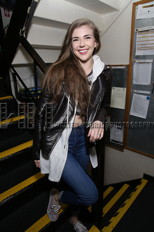 Eliza Ohman backstage before the cast Q & A for The Rockefeller Foundation and The Gilder Lehrman Institute of American History sponsored High School student matinee performance of  'Hamilton' at the Richard Rodgers Theatre on 2/8/2017 in New York City.