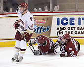 Brian Dumoulin (BC - 2), Casey Wellman (UMass - 7), Justin Braun (UMass - 27) - The Boston College Eagles defeated the University of Massachusetts-Amherst Minutemen 6-5 on Friday, March 12, 2010, in the opening game of their Hockey East Quarterfinal matchup at Conte Forum in Chestnut Hill, Massachusetts.