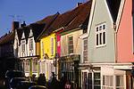 A3AARF Wooden framed colourful Tudor shop fronts Market Hill Woodbridge Suffolk