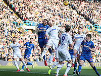 Bolton Wanderers' David Wheater competing with Leeds United's Pontus Jansson in the air<br /> <br /> Photographer Andrew Kearns/CameraSport<br /> <br /> The EFL Sky Bet Championship - Leeds United v Bolton Wanderers - Saturday 23rd February 2019 - Elland Road - Leeds<br /> <br /> World Copyright © 2019 CameraSport. All rights reserved. 43 Linden Ave. Countesthorpe. Leicester. England. LE8 5PG - Tel: +44 (0) 116 277 4147 - admin@camerasport.com - www.camerasport.com