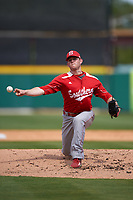 Florida Southern Moccasins relief pitcher Mitch McCarthy (13) delivers a pitch during an exhibition game against the Detroit Tigers on February 29, 2016 at Joker Marchant Stadium in Lakeland, Florida.  Detroit defeated Florida Southern 7-2.  (Mike Janes/Four Seam Images)