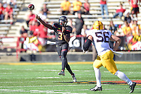 College Park, MD - OCT 15, 2016: Maryland Terrapins quarterback Tyrrell Pigrome (3) throws a pass downfield during game between Maryland and Minnesota at Capital One Field at Maryland Stadium in College Park, MD. (Photo by Phil Peters/Media Images International)