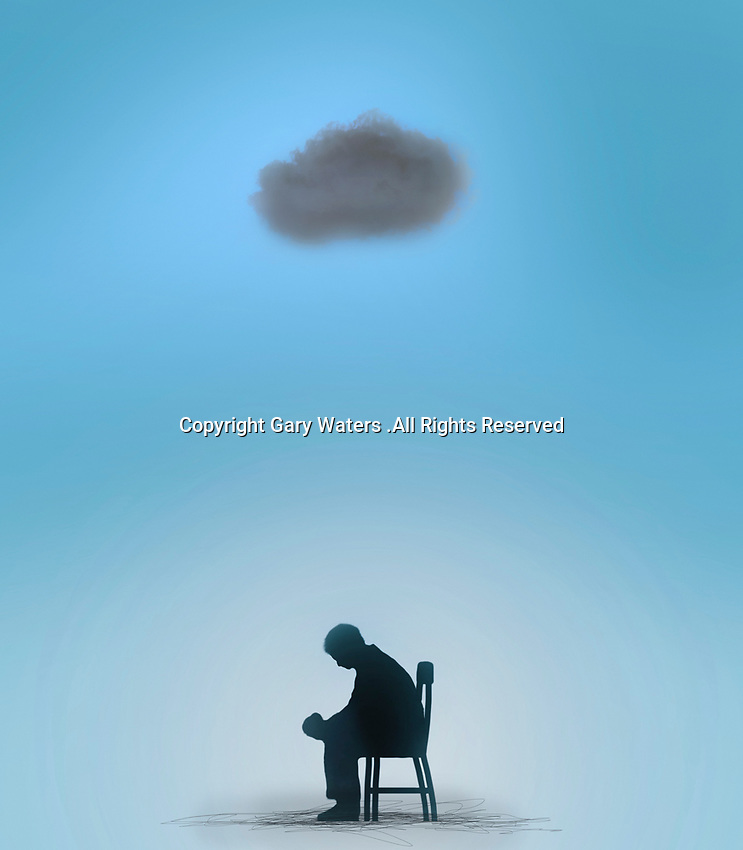 Man sitting under a black cloud