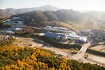 Olympic Sliding Centre and Media Village, Oct 30, 2017 : Olympic Sliding Centre (top L) and Media Village of the 2018 PyeongChang Winter Olympics are seen in PyeongChang, east of Seoul, South Korea. The 23rd Winter Olympics will be held for 17 days from February 9 - 25, 2018. The opening and closing ceremonies and most snow sports will take place in PyeongChang county. Jeongseon county will host Alpine speed events and ice sports will be held in the coast city of Gangneung. (Photo by Lee Jae-Won/AFLO) (SOUTH KOREA)