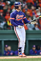 Clemson Tigers right fielder Steven Duggar (9) swings at a pitch during a game against the South Carolina Gamecocks at Fluor Field February 28, 2015 in Greenville, South Carolina. The Gamecocks defeated the Tigers 4-1. (Tony Farlow/Four Seam Images)