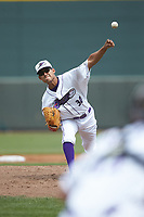Winston-Salem Dash starting pitcher Bernardo Flores (30) delivers a pitch to the plate against the Salem Red Sox at BB&T Ballpark on April 22, 2018 in Winston-Salem, North Carolina.  The Red Sox defeated the Dash 6-4 in 10 innings.  (Brian Westerholt/Four Seam Images)