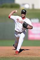 Peoria Javelinas pitcher Kyle Simon (39), of the Philadelphia Phillies organization, during an Arizona Fall League game against the Mesa Solar Sox on October 16, 2013 at Surprise Stadium in Surprise, Arizona.  Mesa defeated Peoria 3-1.  (Mike Janes/Four Seam Images)