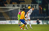 Will De Havilland of Wycombe Wanderers clears the ball during the The Checkatrade Trophy  Quarter Final match between Mansfield Town and Wycombe Wanderers at the One Call Stadium, Mansfield, England on 24 January 2017. Photo by Andy Rowland.