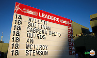 Scoreboard shows Danny Willett (ENG) winning the Final Round of the 2016 Omega Dubai Desert Classic, played on the Emirates Golf Club, Dubai, United Arab Emirates.  07/02/2016. Picture: Golffile | David Lloyd<br /> <br /> All photos usage must carry mandatory copyright credit (&copy; Golffile | David Lloyd)